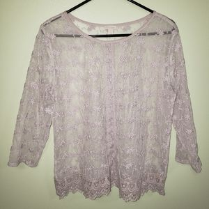 Hinge Lilac Lace Top
